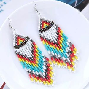 Handmade Native White Beaded Earrings